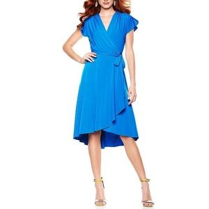 Plus Size Bright Blue Flutter Sleeve Wrap Dress 1X
